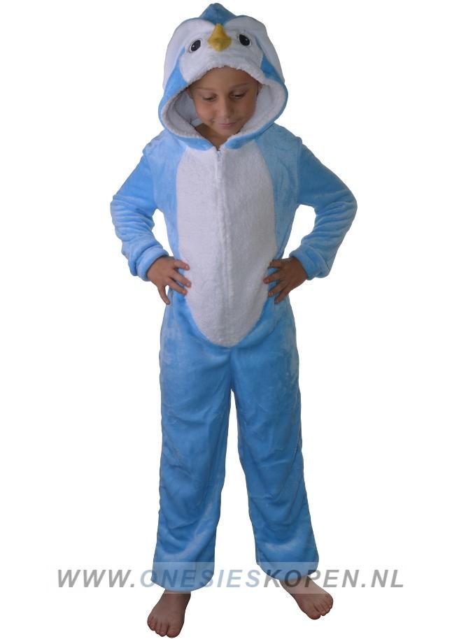 Onesie pinguin blauw kids