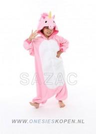 sazac roze eenhoorn onesie kids pink unicorn