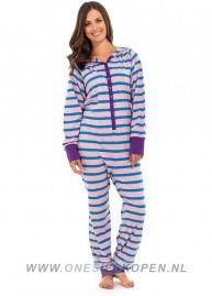 katoenen onesie roze/blauw dames