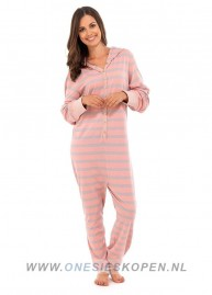 katoenen onesie roze/grijs dames