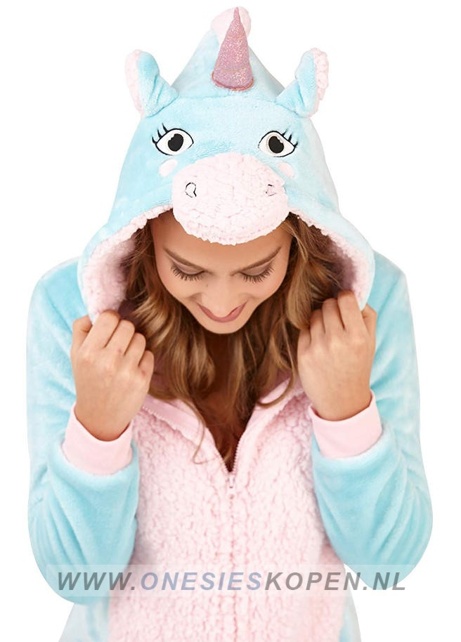 Onesie Aqua Unicorn adult detail