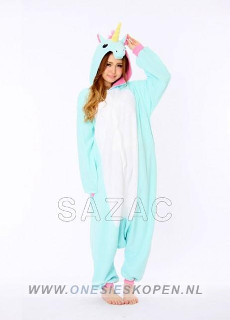 Blauwe unicorn onesie kigurumi sazac voor