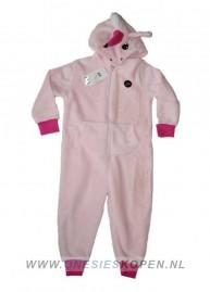 eenhoorn onesie kids roze detail