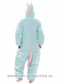 oneski skigurumi blue unicorn ski onesie back
