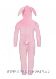 Onesie Kids konijn bunny roze wit back