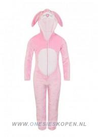 Onesie Kids konijn bunny roze wit