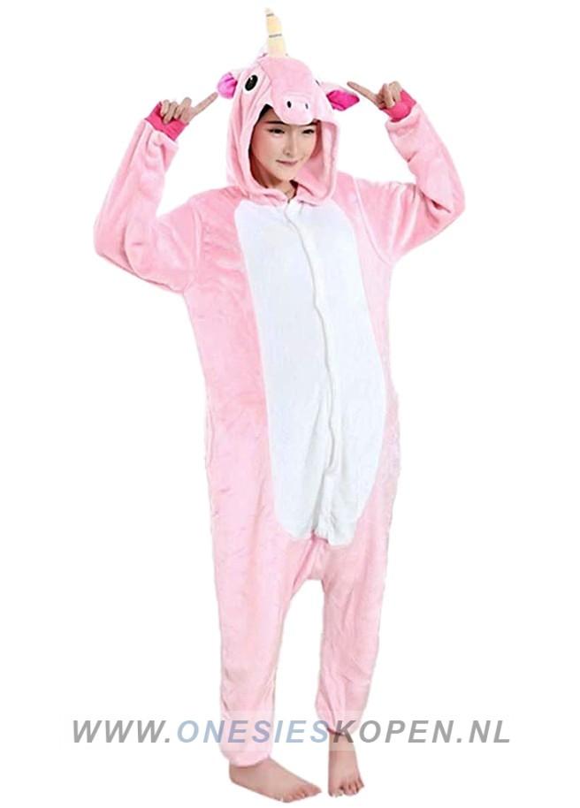 Onesie roze eenhoorn kigurumi voor