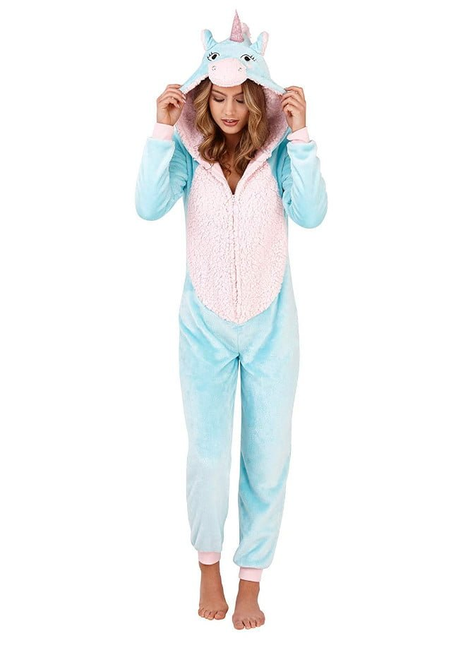 Onesie Aqua fluffy Unicorn adult