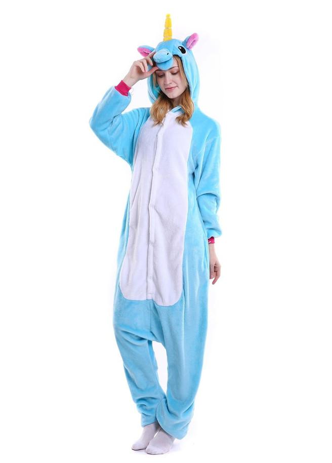 Onesie blauwe eenhoorn kigurumi front