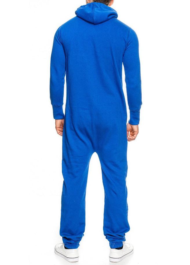 blauw onesie unisex man achter