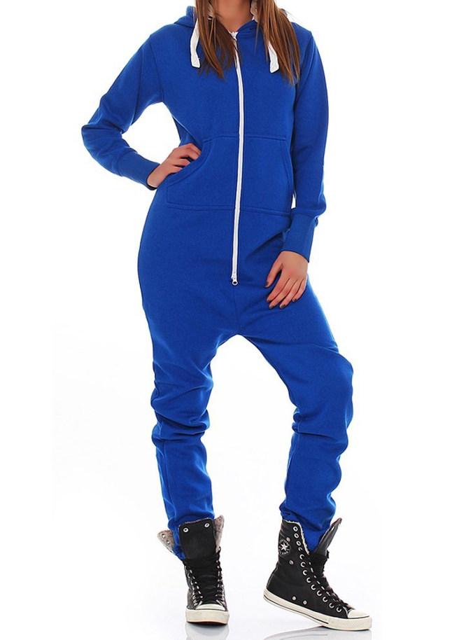 blauw onesie unisex vrouw voor