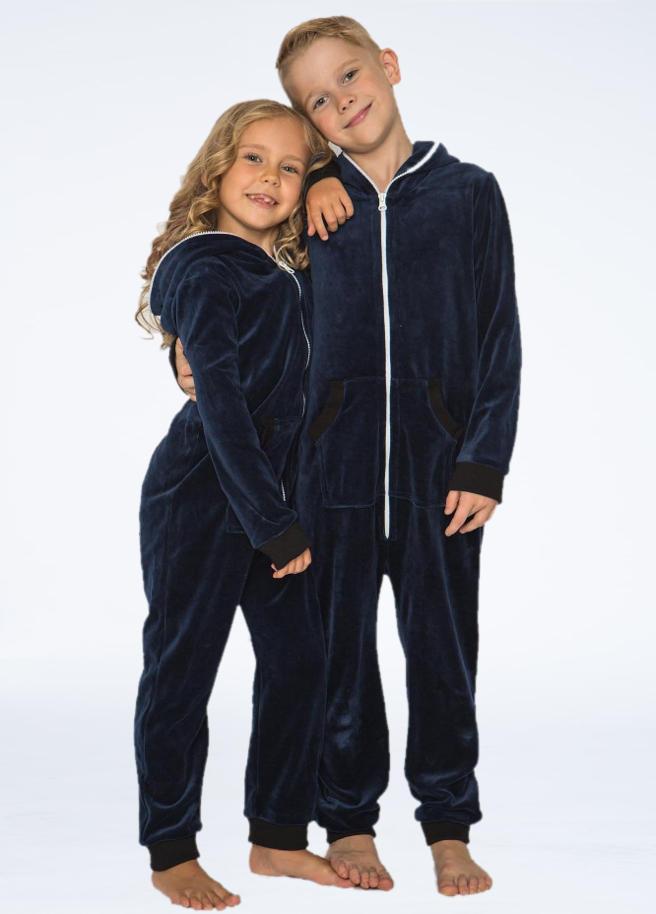 Sofakiller velours onesie dark blue kids front