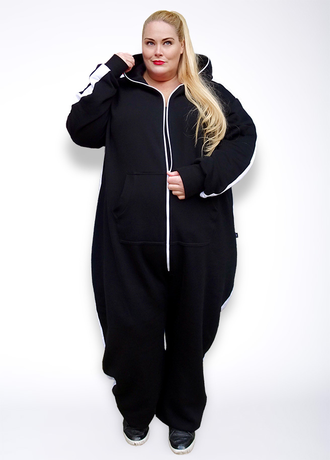 Sofa Killer Plus Size black with white stripe onesie front