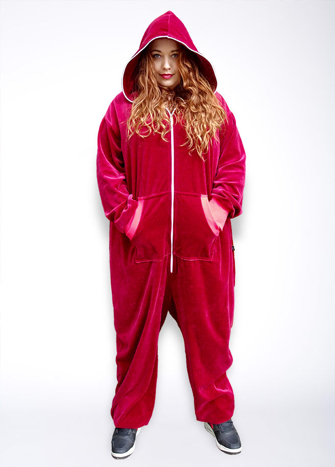 Sofa Killer bordeaux velours Plus Size onesie red wine front