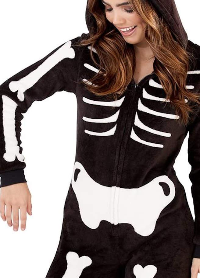Skeleton onesie detail